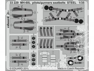 Eduard photodécoupe hélicoptére 33229 Harnais métal pilotes - mitrailleurs MH-60L Kitty Hawk 1/32