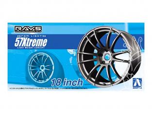 """Aoshima maquette voiture 53010 Jantes Rays Gram Lights 57Xtreme 18"""" et pneus 1/24"""