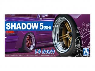 """Aoshima maquette voiture 54376 Jantes Shadow 5 (5H) 14"""" et pneus 1/24"""
