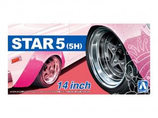 """Aoshima maquette voiture 54390 Jantes Star 5 (5H) 14"""" et pneus 1/24"""
