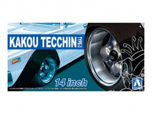 "Aoshima maquette voiture 54697 Jantes Kakou Tecchin Type-3 14"" et pneus 1/24"