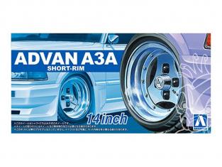 """Aoshima maquette voiture 55465 Jantes Advan A3A Short-rim 14"""" et pneus 1/24"""