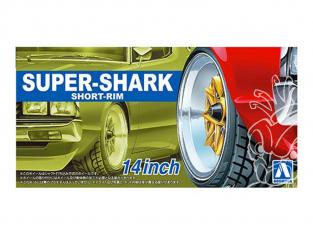 """Aoshima maquette voiture 55489 Jantes Super-Shark Short-Rim 14"""" et pneus 1/24"""