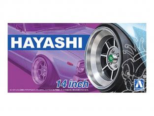 """Aoshima maquette voiture 52594 Jantes Hayashi 14"""" et pneus 1/24"""