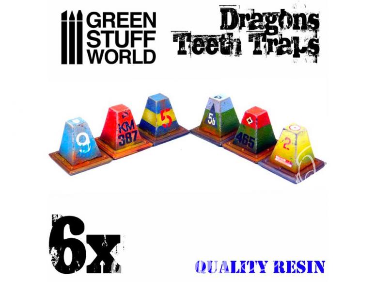 Green Stuff 504033 6x Dents de Dragon en Résine
