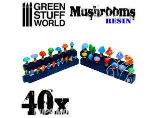 Green Stuff 504088 40x Champignons en Résine