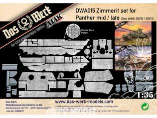 DAS WERK maquette militaire DWA015 Zimmerit Set pour Panther midium tardive modèle Das Werk 35010 35011 1/35