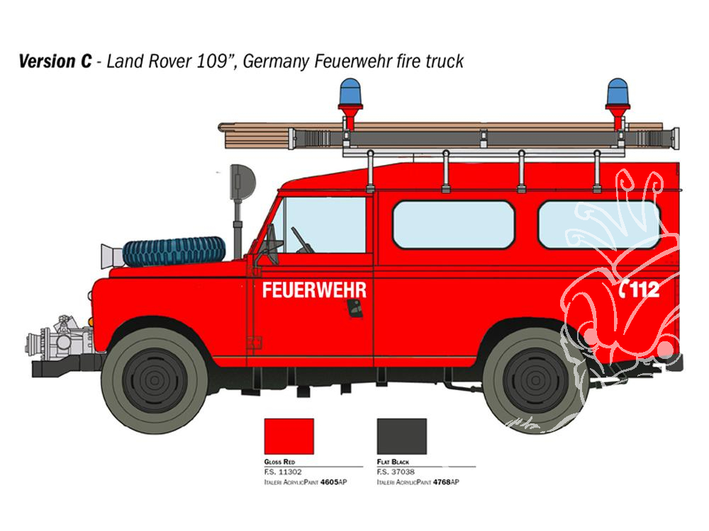 Italeri 3660 échelle 1//24 Land Rover pompiers Fire Truck