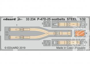 Eduard photodécoupe avion 33234 Harnais métal P-47D-25 Hasegawa 1/32