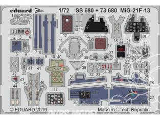 Eduard photodecoupe avion 73680 Amélioration MiG-21F-13 Modelsvit 1/72