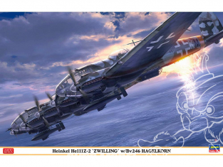 "HASEGAWA maquette avion 02305 Heinkel He111Z-2 ""Zweeling"" avec Bv246 Hagelkorn 1/72"