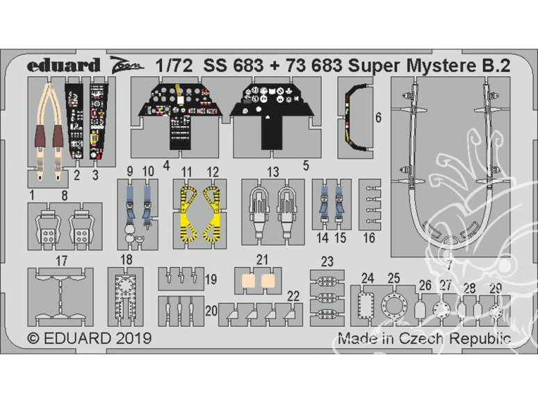 Eduard photodecoupe avion SS683 Zoom Amélioration Super Mystere B.2 Special Hobby 1/72