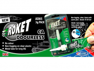 DELUXE MATERIALS colle AD85 Roket Odourless 3g Ciano gel