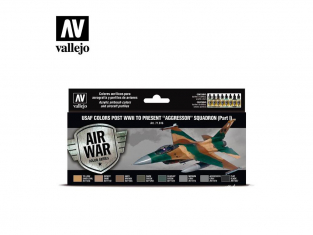 """Vallejo Set Air War series 71616 USAF colors post WWII to present """"Aggressor"""" Squadron Part I 8x17ml"""