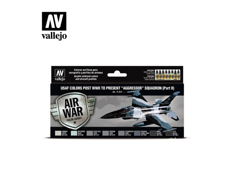 """Vallejo Set Air War series 71617 USAF colors post WWII to present """"Aggressor"""" Squadron Part II 8x17ml"""
