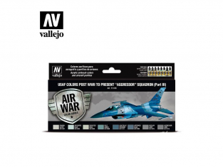 "Vallejo Set Air War series 71618 USAF colors post WWII to present ""Aggressor"" Squadron Part III 8x17ml"