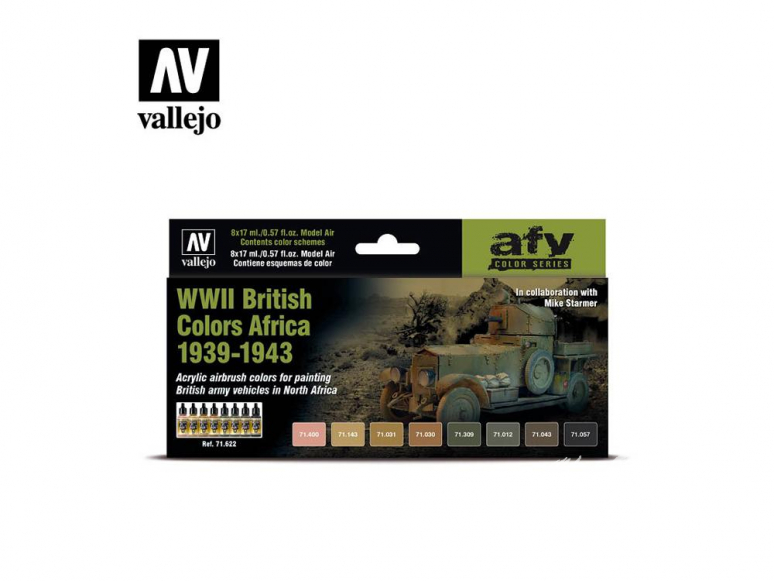 Vallejo Set Afv Color series 71622 WWII British Colors Africa 1939-1943 8x17ml