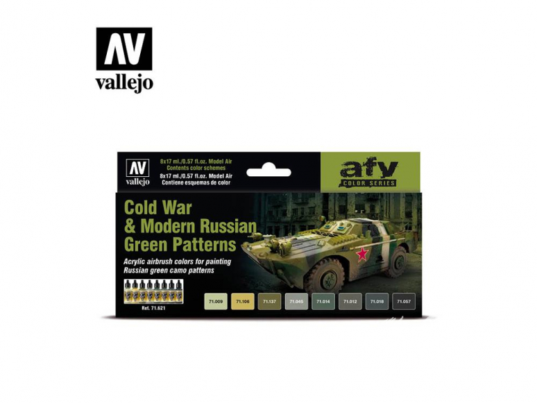 Vallejo Set Afv Color series 71621 Guerre froide et motifs vert russes modernes 8x17ml