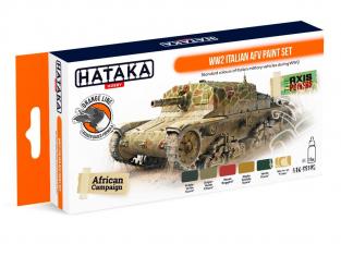 Hataka Hobby peinture laque Orange Line CS106 Set WW2 Italian AFV 6 x 17ml