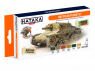 Hataka Hobby peinture laque Orange Line CS106 Set WW2 Italian AFV 6 x 17ml