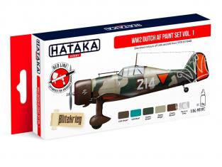 Hataka Hobby peinture acrylique Red Line AS107 Set de peinture WW2 Dutch AF paint set vol. 1 6 x 17ml