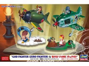 Hasegawa maquette avion 60517 Egg Of the World Egg World God Fighter (Combat zéro) et Wolf Panic (Fw190)