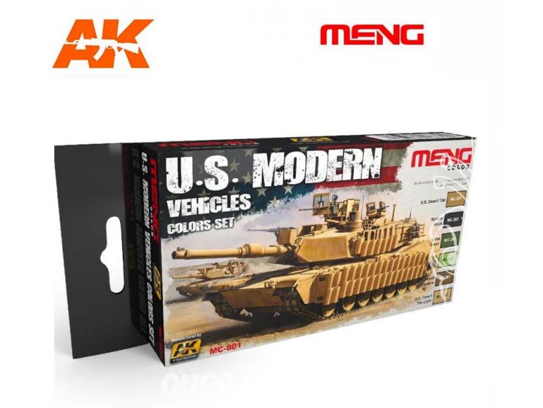 Meng Color Set peintures acrylique MC-801 Couleurs véhicules U.S. Modernes 6 x 17ml