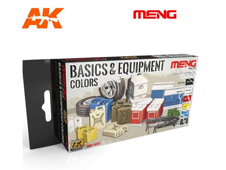 Meng Color Set peintures acrylique MC-803 Couleurs basiques & Equipement 6 x 17ml