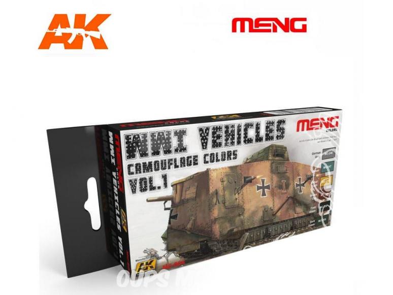 Meng Color Set peintures acrylique MC-804 Couleurs camouflage véhciules WWI Vol.1 6 x 17ml