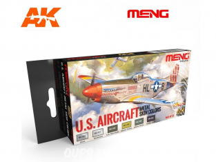 Meng Color Set peintures acrylique MC-812 Couleurs métal U.S. Aircraft 6 x 17ml