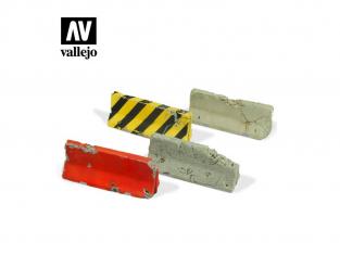 Vallejo Bases de diorama SC215 Barrières de ciment endommagées 1/35