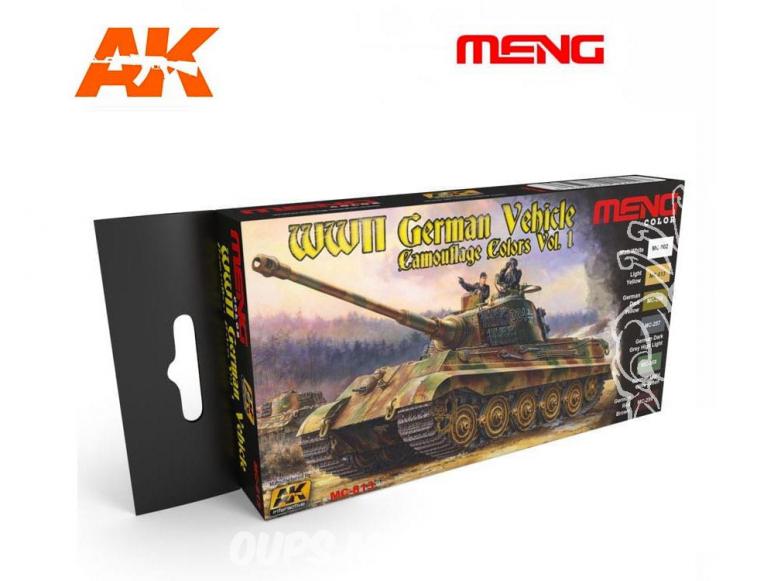 Meng Color Set peintures acrylique MC-813 Couleurs camouflage Véhicules Allemands WWII Vol.1 6 x 17ml