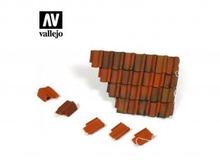 Vallejo Bases de diorama SC230 Tuiles et section de toit en ruine 1/35