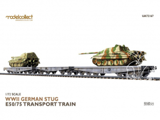 Modelcollect maquette militaire 72167 WWII German STUG E50 et 75 transport train 1/72