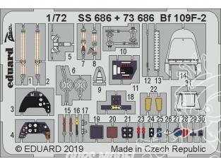 Eduard photodecoupe avion 73686 Amélioration Messerschmitt Bf 109F-2 Revell 1/72