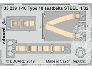Eduard photodécoupe avion 33239 Harnais métal Polikarpov I-16 Type 10 Icm 1/32