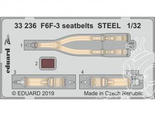 Eduard photodécoupe avion 33236 Harnais métal F6F-3 Trumpeter 1/32