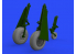 Eduard kit d'amelioration avion brassin 648505 P-51D Roues avec bande de roulement en bloc Eduard 1/48