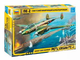 Zvezda maquette avion 7283 Bombardier en piquée soviétique Pe-2 1/72