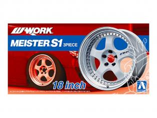 """Aoshima maquette voiture 52990 Jantes Work Meister S1 3Piece 18"""" et pneus 1/24"""