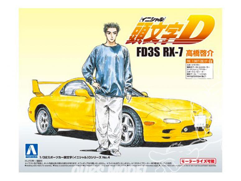 Aoshima maquette voiture 008997 Initial D - Mazda RX-7 FD3S Keisuke Takahashi 1/32