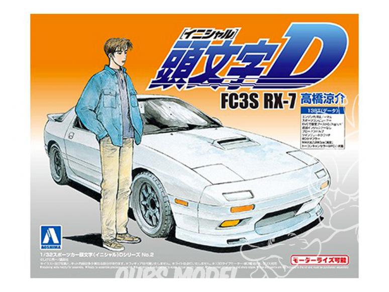 Aoshima maquette voiture 008973 Initial D - Mazda RX-7 FC3S Riyousuke Takahashi 1/32