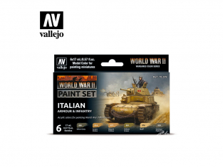 Vallejo Set Wargames Color Series 70209 WWII Armée et infanterie Italienne 6 pots de peintures 17ml