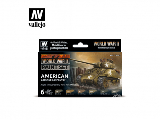 Vallejo Set Wargames Color Series 70203 WWII Blindés Americain et Infanterie 6 pots de peintures 17ml