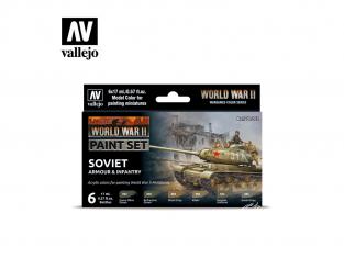 Vallejo Set Wargames Color Series 70202 WWII Blindés Soviétique et Infanterie 6 pots de peintures 17ml