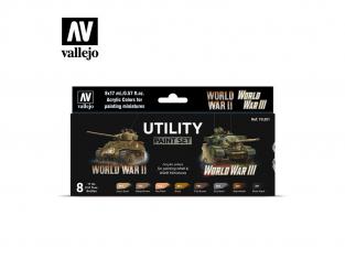 Vallejo Set Wargames Color Series 70201 Set de peinture utilitaire WWII & WWIII 8 pots de peintures 17ml