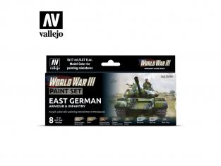 Vallejo Set Wargames Color Series 70224 WWIII Blindés Allemagne de l'est et Infanterie 8 pots de peintures 17ml