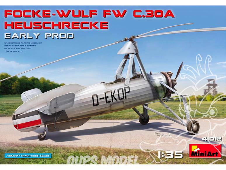 Mini Art maquette avion 41012 FOCKE-WULF FW C.30A HEUSCHRECKE. Début de production 1/35