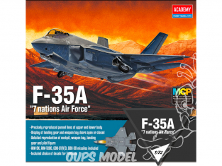 Academy maquette avion 12561 F-35A 7 versions de decalques 1/72