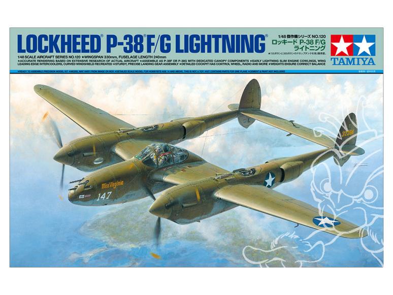 Tamiya maquette avion 61120 LOCKHEED(R) P-38(R) F/G LIGHTNING(R) 1/48